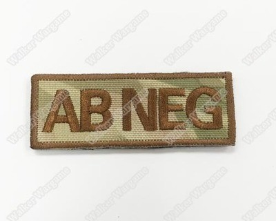 WG043 US Army AB NEG Blood Type Patch With Velcro - Multicam Colour