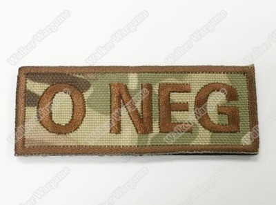 WG042 US Army O NEG Blood Type Patch With Velcro - Multicam Colour