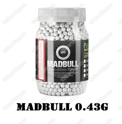 MadBull 0.43g Precision Ultimate Heavy BB For Snipers 2000 rds - White Color