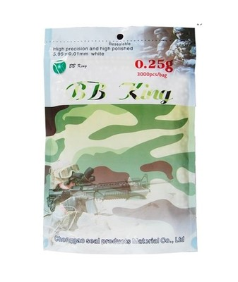 BB King Airsoft 6mm 0.25g BB 3000rds High Quality BB - White