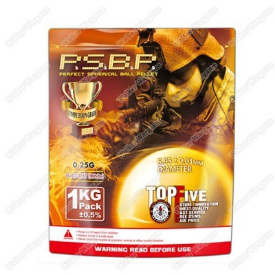 G&G 0.25G P.S.B.P. Perfect Spherical Seamless 6mm Airsoft BBs - 1KG 4000rds