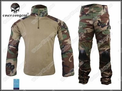 Combat Set Shirt & Pants Build in Elbow & Knee Pads - US Navy SEAL Woodland