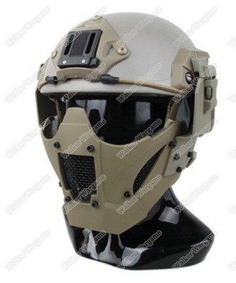 PDW Airsoft Tactical Hard Shell Half Fast Mesh Mask - Desert Tan