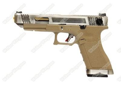 WE Special Custom Glock 35 Full Auto GBB Pistol Transformers Type (Silver Slide, Tan Frame, Gold Barrel)