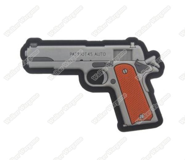 PWG013 PVC Rubber Colt 1911 Pistol Patch With Velcro - Full Colour