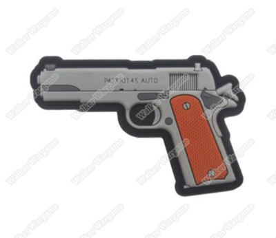 PWG013 PVC Rubber Colt 1911 Pistol Patch With Velcro - Full Colour