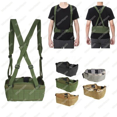 Tactical Waist Padded Molle Belt With Suspender Duty Belt - Multi Color