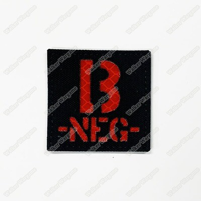 LWG014 B NEG - Laser Cut Reflective Blood Type Patch With Velcro