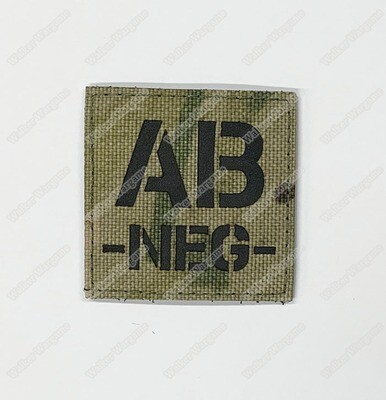 LWG023 AB NEG Blood Type Multicam - Laser Cut Patch With Velcro