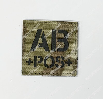 LWG019 AB POS Blood Type Multicam - Laser Cut Patch With Velcro