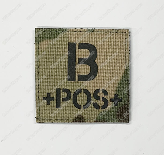 LWG018 B POS Blood Type Multicam - Laser Cut Patch With Velcro