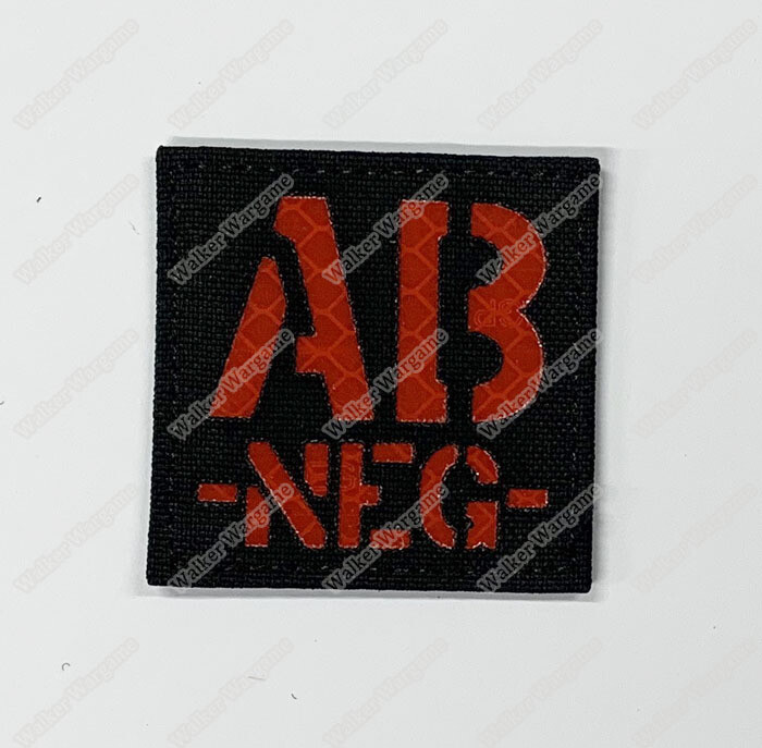 LWG015 AB NEG - Laser Cut Reflective Blood Type Patch With Velcro