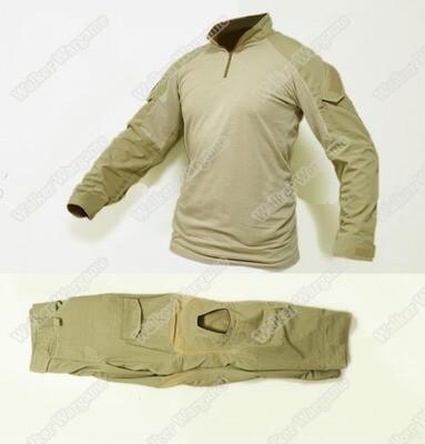 Combat Set Shirt & Pants Build in Knee Pads - Desert Tan