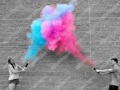 Gender Reveal Smoke Bombs Boy or Girl - Blue and Pink Pull Ring Smoke Boom Set