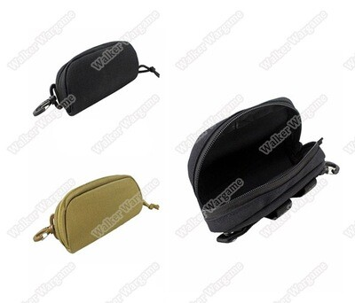Tactical Molle Glasses Hard Case Zipper Sunglasses Carrying Case 1000D Nylon with Clip Black