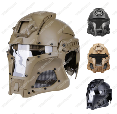 Tactical Samurai Airsoft Mask With Helmet - Desert Tan