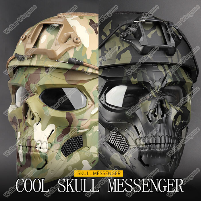 Tactical Airsoft Paintball Mask Full Face Skull Messenger Mask Fit Fast Helmet Adjustable