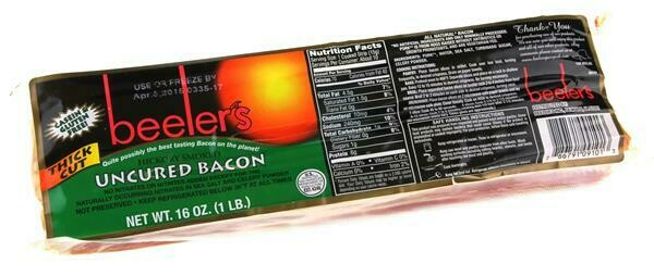 Beelers Uncured Bacon Thick Cut Hickory Smoked 16oz
