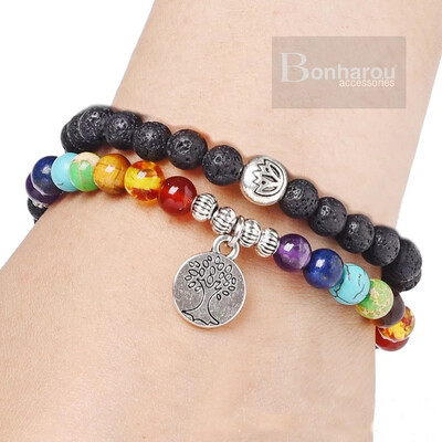 TREE STONE 7 COLOR DOUBLE BRACELET