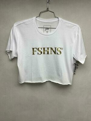 FSHNS - Womens White and Gold Crop Top