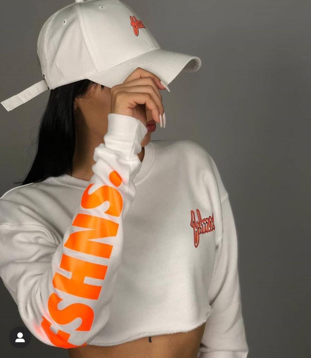 FSHNS - Womens White/Orange Logo Long Sleeve Crop Top