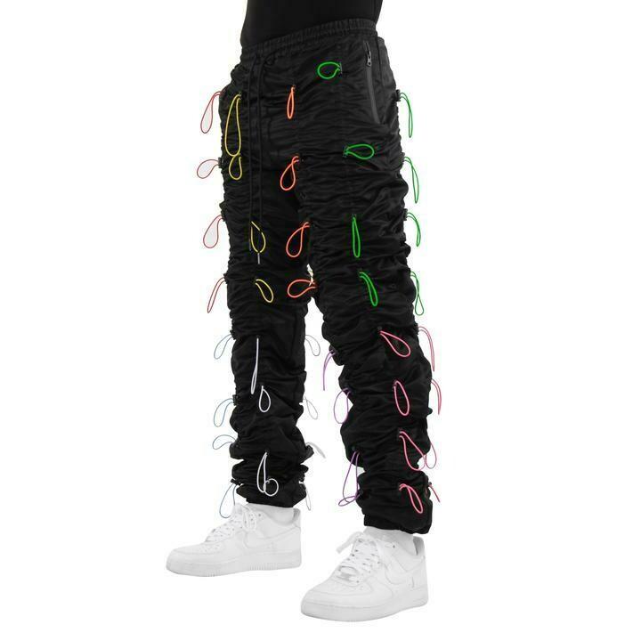 EPTM BLACK/MULTI-ACCORDION PANTS