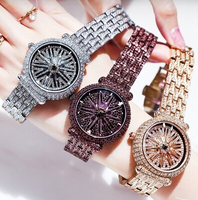 Suoer Unique Women Watch 360 Moving - Stone Element Style