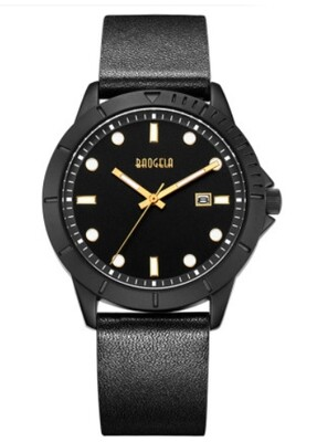 Baogela Daily Watch All Black Leather Band