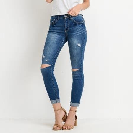 Mid Rise Skinny Blue Jean