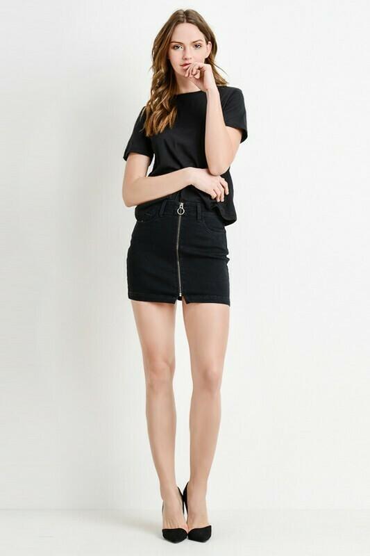 Zoey Front Zip Denim Skirt