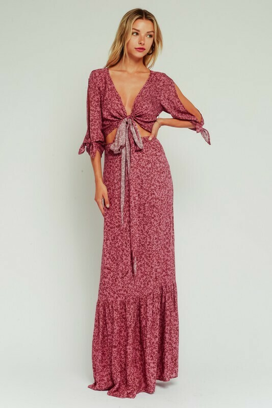 Mauve Floral Waist Tie Cutout Maxi Dress