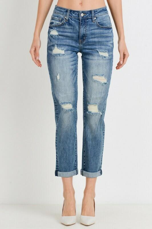 Roll Up Slim Fit Boyfriend Jeans