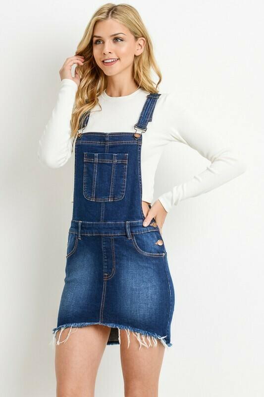 Hi-Low Denim Overall Skirt