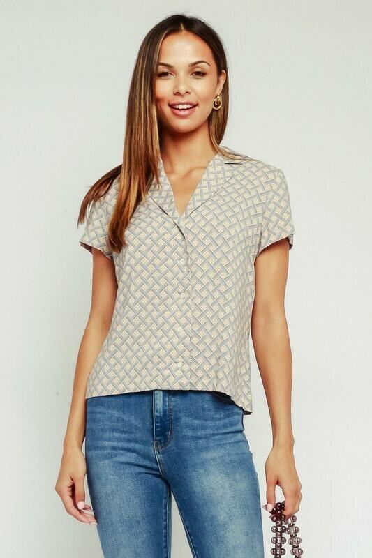 Geo Tile Button Up Shirt