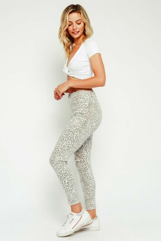 Distressed Leopard Denim Pants