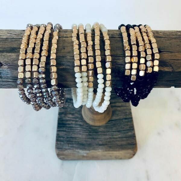 Five Strand Stone and Gold Bracelet