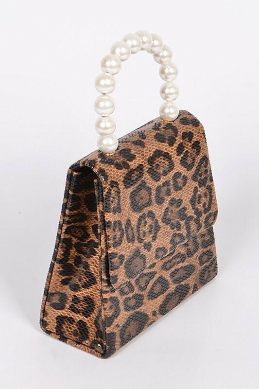 Leopard Snakeskin Hybrid Pearl Clutch