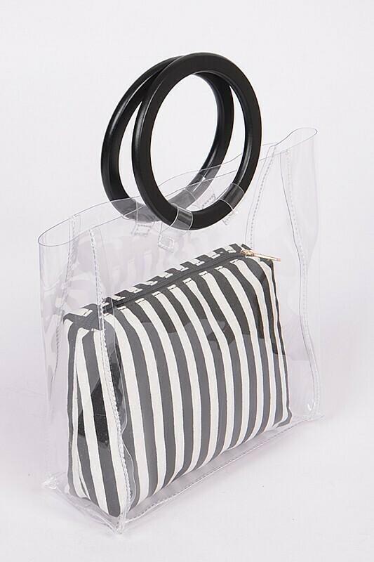 Striped Clear Circle Clutch