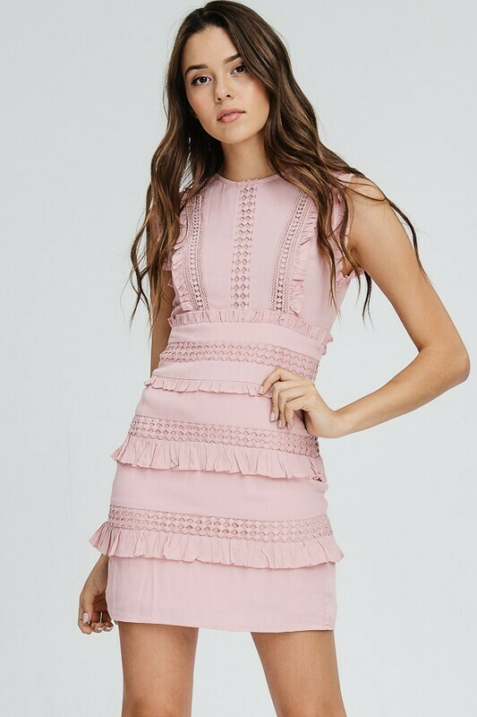 Ruffle Edge Detail Mini Dress