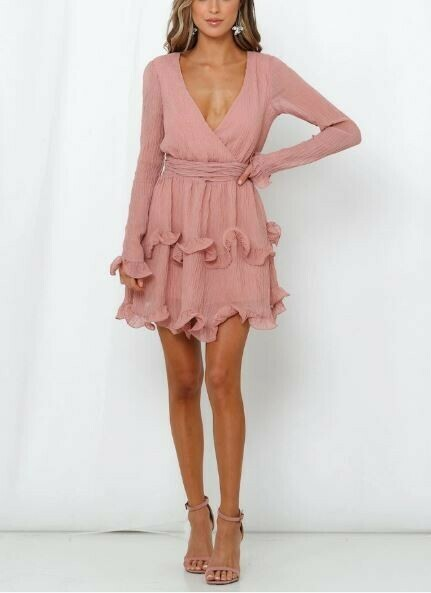 Ruffled long sleeved textured mini dress