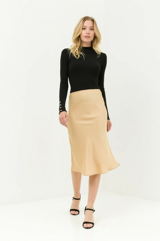 Satin Flared Midi Skirt