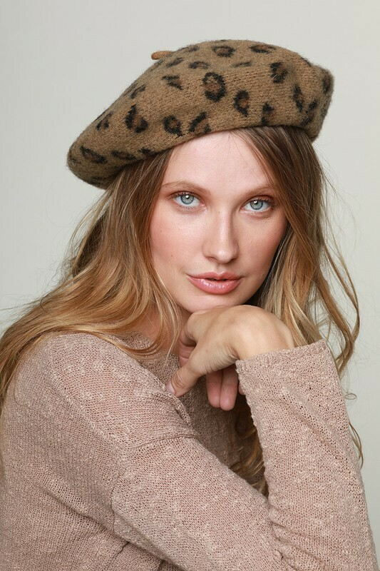 Leopard Printed French Beret