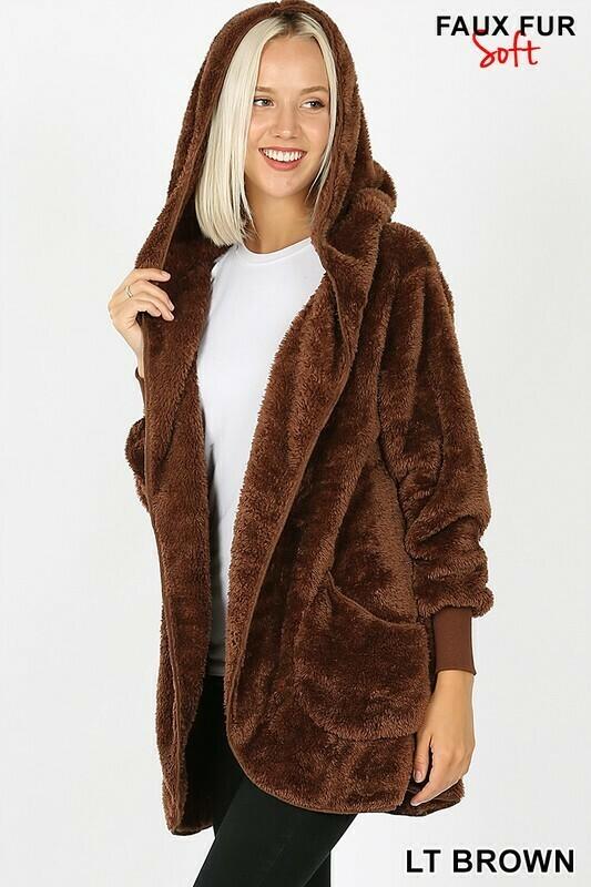 Super Soft Faux Fur Hooded Jacket