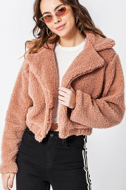 Fluffy Button Up Crop Jacket