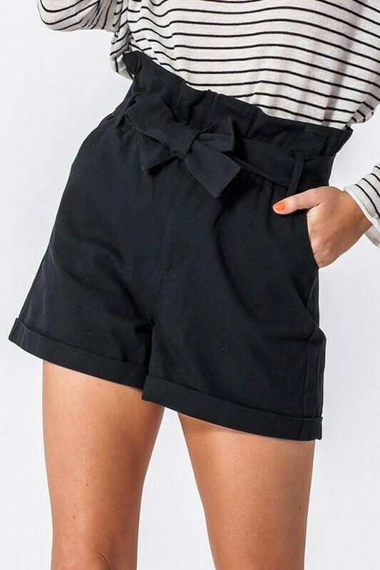 Fall Paper Bag Waist Shorts