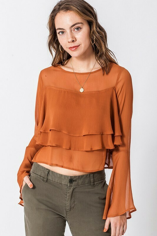 Bell Sleeve Layered Blouse