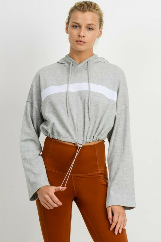 Bold Stripe Hoodie Crop French Terry Pullover