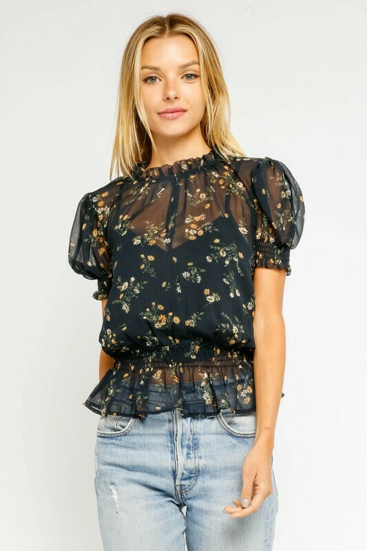Floral Puff Sleeve Blouse