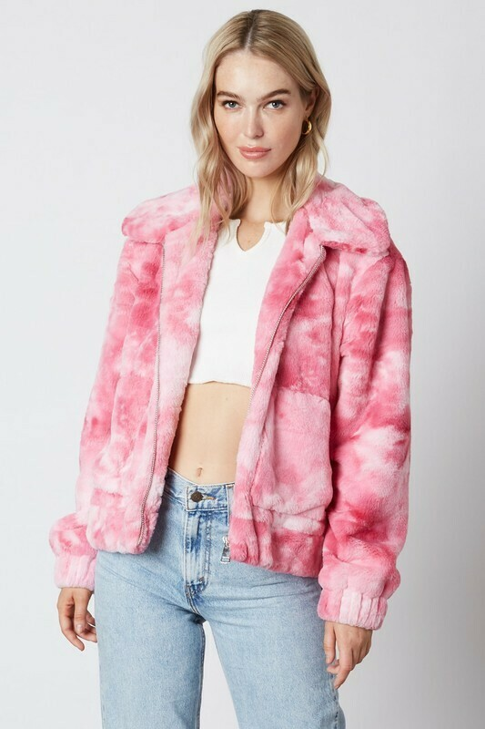 Oversized Tie Dye Teddy Jacket