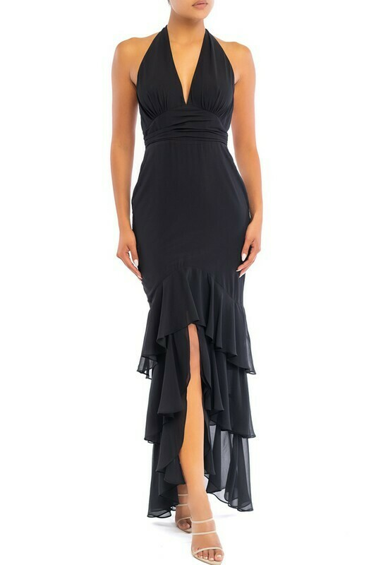 Tina Ruffle Hem Halter Maxi Dress